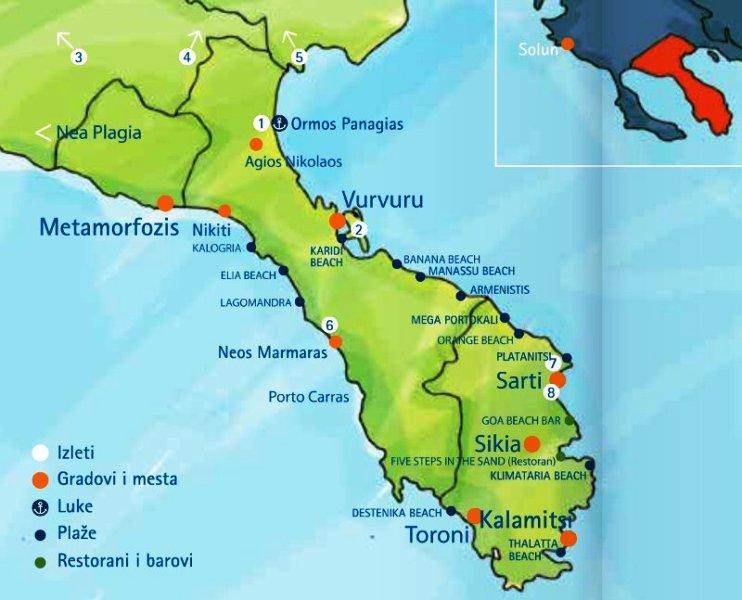 Mapa Sitonije Halkidiki Superjoden